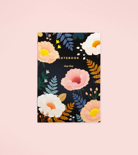 ORIENTAL POPPY NOTEBOOK – BLACK