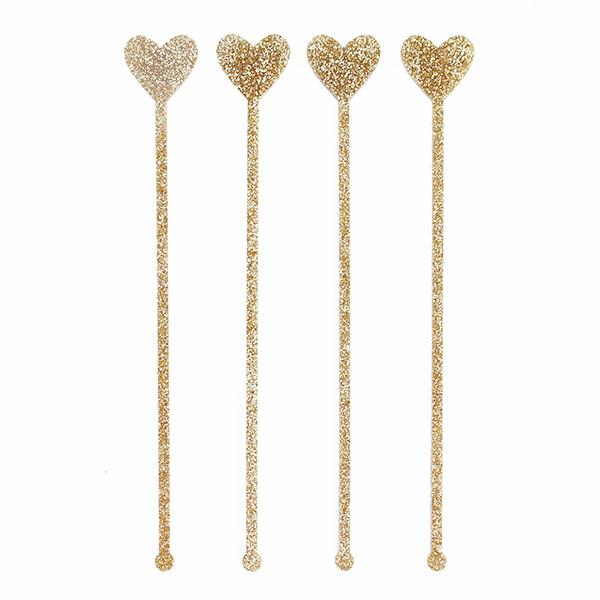SWIZZLE STICKS - GOLD GLITTER HEARTS