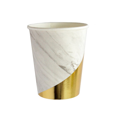 BLANC MARBLE AND GOLD COLOURBLOCK CUPS