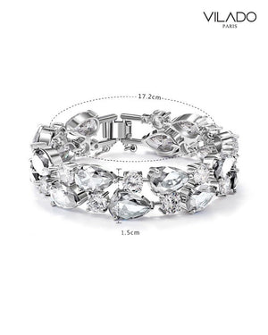 Luxurious Diamond Look Silver Bracelet