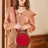 Brown Leather Circle Round Purses Crossbody Bags - Annie Jewel
