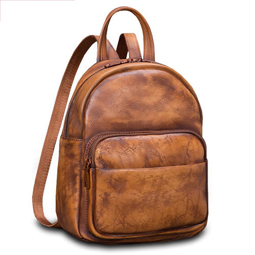 Brown Vintage Leather Small Backpack Travel Bag Purse - Annie Jewel