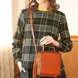 Brown Leather Square Satchel Handbags Purses - Annie Jewel