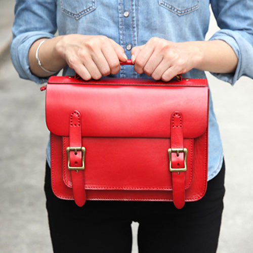 Womens Leather Satchel Bag Red Cambridge Structured Satchel Bag Purse