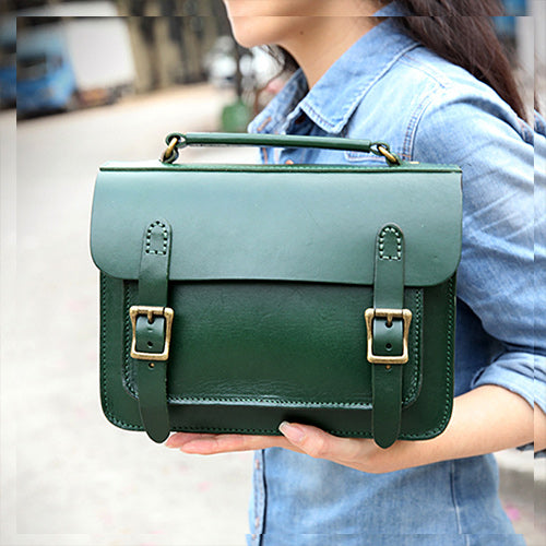Womens Leather Satchel Bag Green Cambridge Structured Satchel Bag Purse