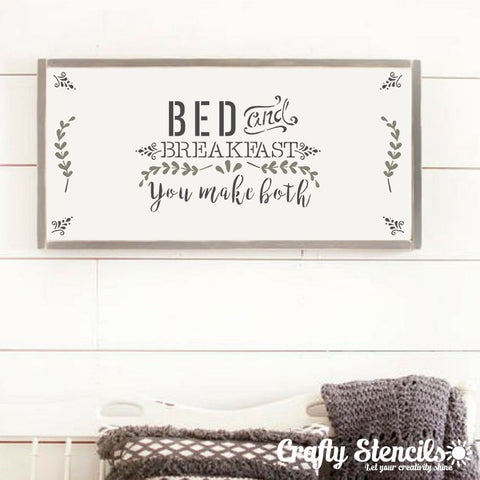 Bed & Breakfast Craft Stencil