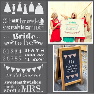 Bridal Shower 6 Piece Craft Stencil Kit