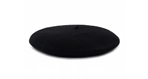 Black Beret 100% Wool Winter Hats Millinery Flat shot