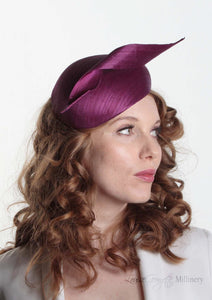 Luxury Beret with Silk Abaca twist. Model right side view. Millinery handmade in London.