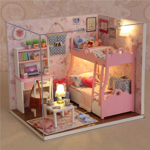 Newest Modern Wooden Doll House Toys With Furnitures Assembling DIY Miniature Model Kit Child Gifts Ornament Craft