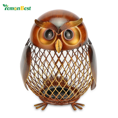 LemonBest Owl Shape Metal  Box Piggy Bank Saving Pot Coin Money Bank Home Office Decor Ornament Artcraft Gift for Children Kids