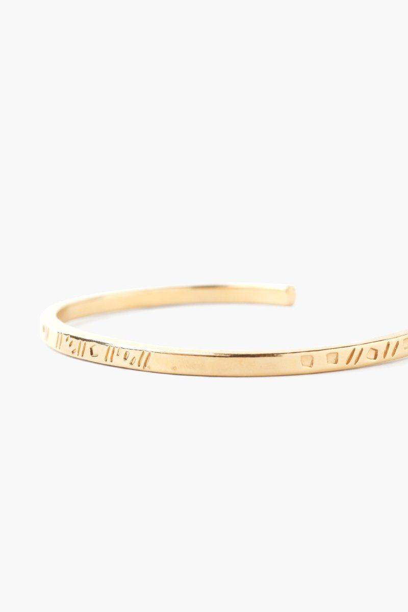 Yellow Gold Line Engraved Cuff