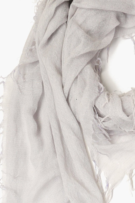 Glacier Grey Metallic Cashmere and Silk Scarf