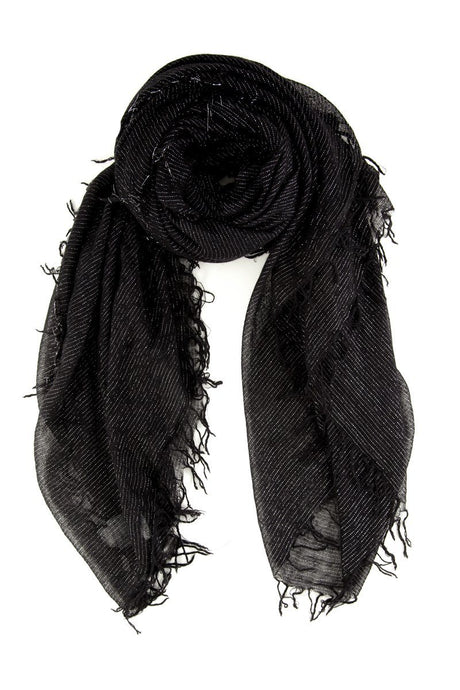 Black Metallic Cashmere and Silk Scarf