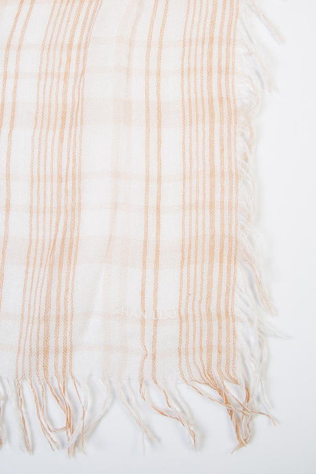 Doeskin Mix Plaid Print Cashmere and Silk Scarf