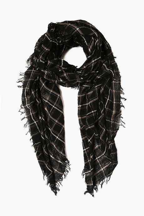 Black Mix Plaid Wool Scarf