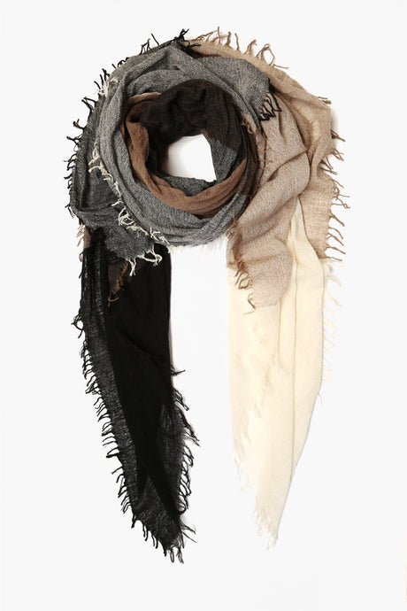 Black Mix Color Block Wool Scarf