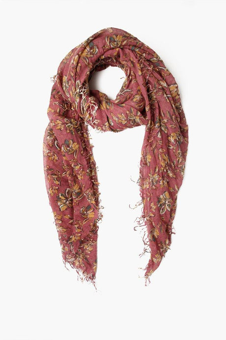 Meadow Mauve Painterly Floral Cashmere and Silk Scarf