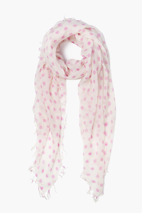 Violet Polka Dot Cashmere and Silk Scarf