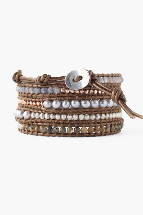 Abalone Mix Pearl and Grey Pearl Wrap Bracelet