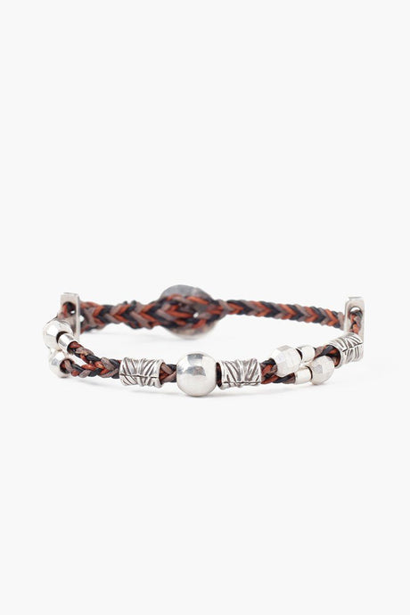 Natural Brown Mix Braided Single Wrap Bracelet