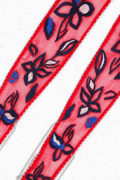 Barbados Cherry Floral Embroidered Long Skinny Scarf