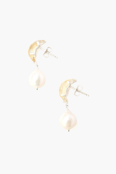 Citrine Crescent Moon and Freshwater Pearl Drop Earrings