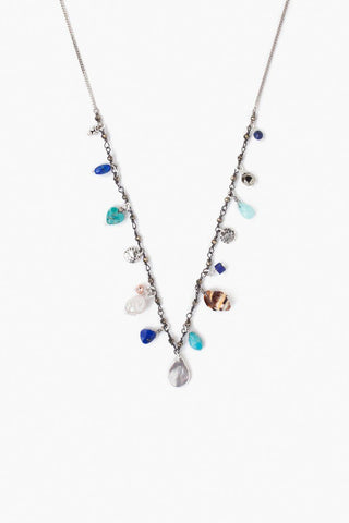 White Mother of Pearl Squash Blossom Charm Necklace