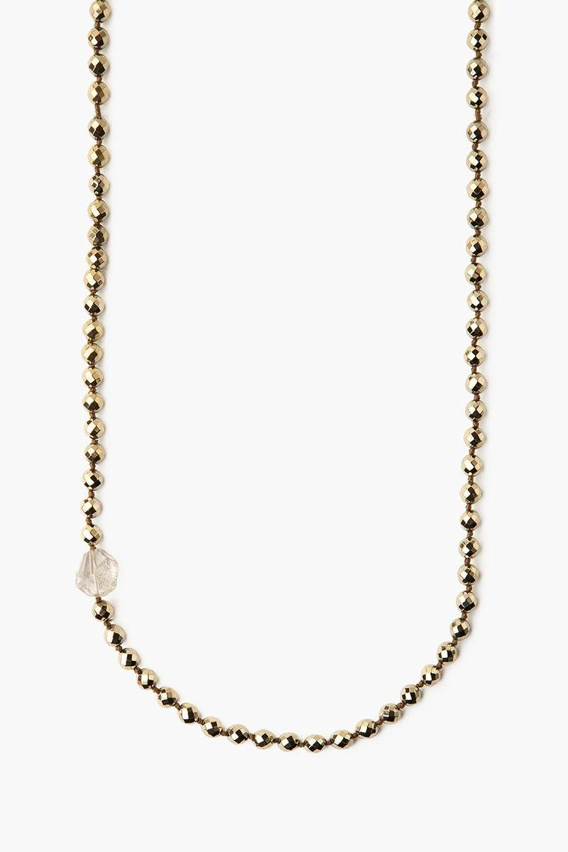 Pyrite Beaded Long Necklace