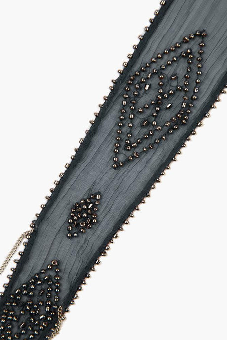 Total Eclipse Beaded Diamond Short Skinny Scarf