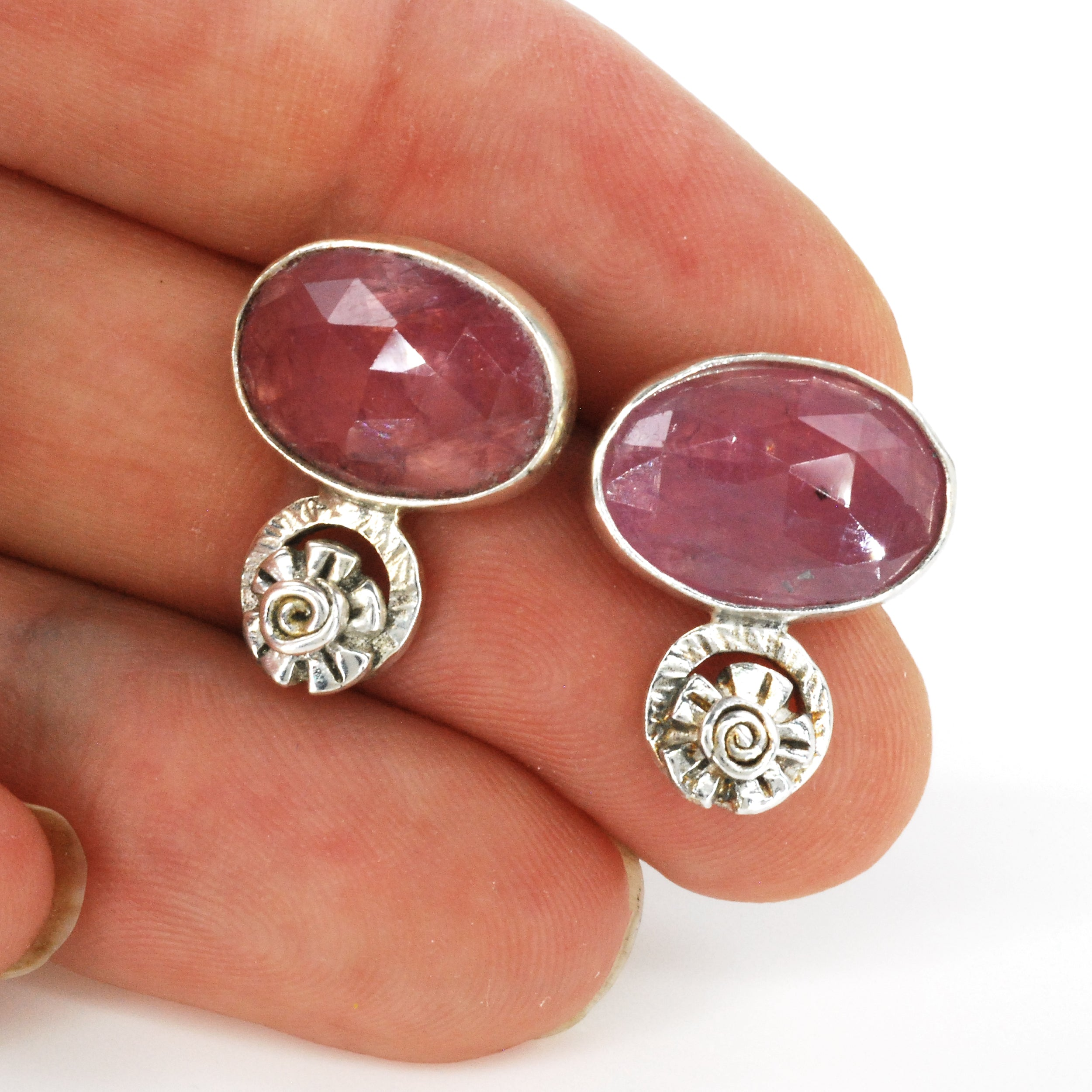 Rose Sapphire Earrings