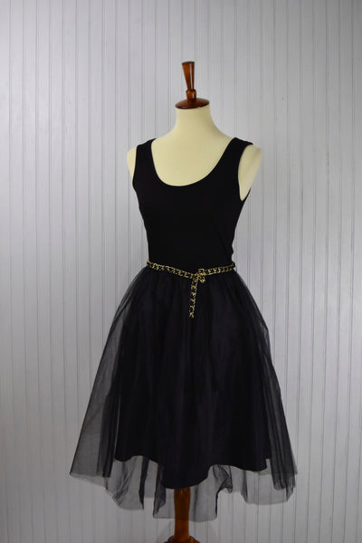 Sophia Tulle Skirt Dress in Black
