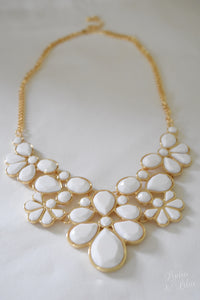 Claire Floral Statement Necklace and Earring Set in White