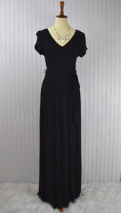 Valentina Curvy Mock Wrap Maxi in Black