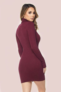 BURGUNDY KNIT TURTLENECK DRESS