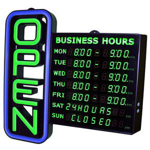 Green Light Led Open Sign with Business Hours