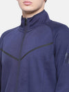 t-base Blue Solid Mock Collar Sweatshirt
