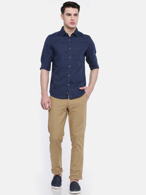 t-base Navy Solid Cotton Linen Casual Shirt