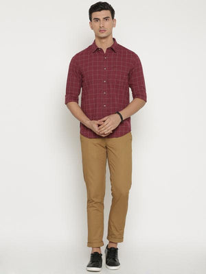 t-base Maroon Checked Cotton Casual Shirt
