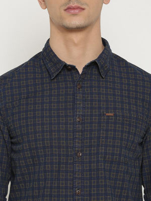 t-base Khaki Checked Cotton Casual Shirt