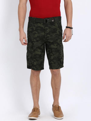 t-base Olive Cotton Camo Print Cargo Shorts