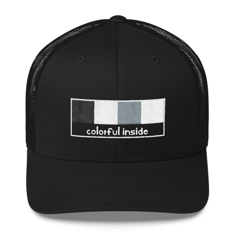 Colorful Inside Trucker Cap: Black
