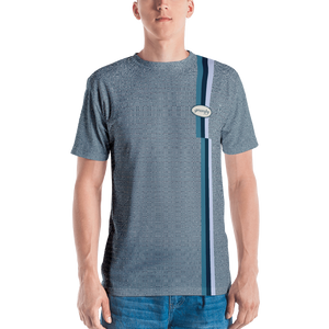 Grumpy Worker Micro check T-shirt: Navy/White