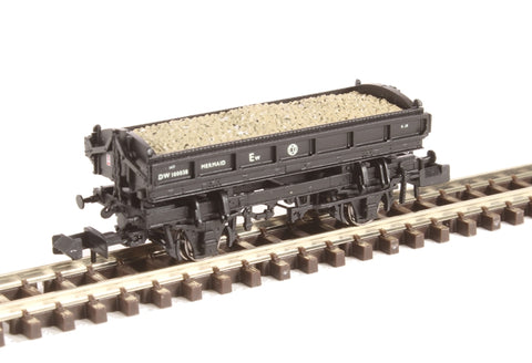 Mermaid side tipping ballast wagon ZJO DW100022 in BR black with straw lettering