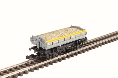 Mermaid side tipping ballast wagon ZJV DB989484 in Civil Engineers 'Dutch' grey and yellow