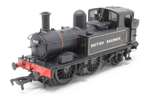 Class 58xx 0-4-2T 5816 in BR Lined black with BRITISH RAILWAYS (Gill Sans) - Open box. Glue marks round one numberplate