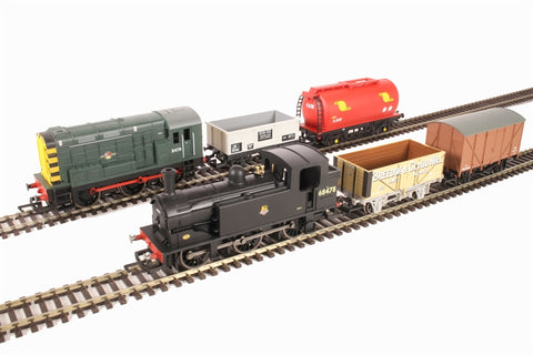 Mixed Freight DCC digital train set with Class 08 0-6-0 BR diesel electric loco, steam loco & 4 wagons