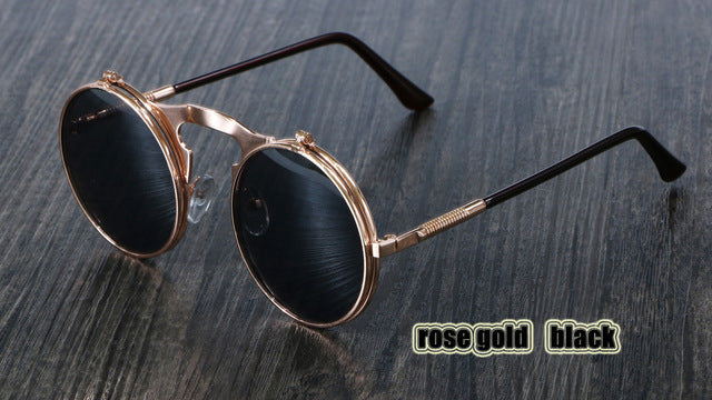 Steampunk Sunglasses Round Metal OCULOS De Sol Women Style Retro Flip Circular Double Metal Sun Glasses Men CIRCLE SUN GLASSES - Zamavi.com