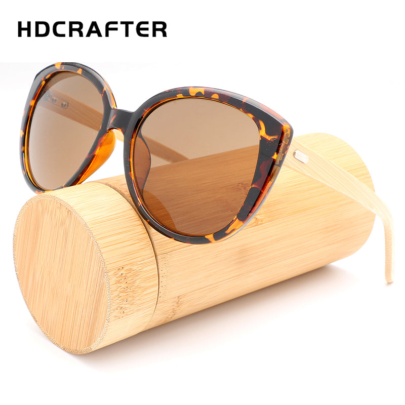HDCRAFTER Cat Eye Sunglasses Women Wooden Legs Big Oversized Cateye Sunglass Leopard Brown Wood Vintage Sun Glasses Eyewear - Zamavi.com