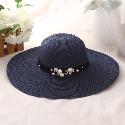HT1163 High Quality Summer Sun Hats for Women Solid Large Brimmed Sun Hats Black White Floppy Hats with Pearls Ladies Beach Hat - Zamavi.com